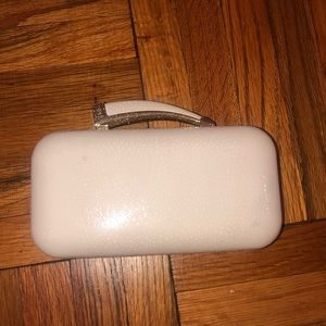 Vince Camuto white leather evening clutch